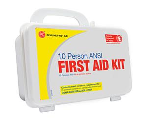 10 Person ANSI/OSHA First Aid Kit, Plastic Case < Genuine First Aid #9999-2125