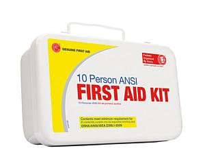 10 Person ANSI/OSHA First Aid Kit, Weather Proof Metal Case < Genuine First Aid #9999-2121