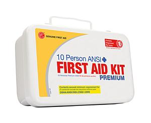 10 Person ANSI/OSHA First Aid Kit, Weather Proof Metal Case PREMIUM < Genuine First Aid #9999-2113