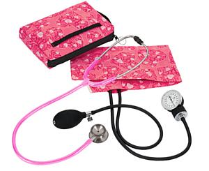 Aneroid Sphygmomanometer / Clinical I Stethoscope Kit, Adult, Hot Pink Hearts, Print < Prestige Medical #A126-HPH