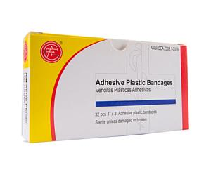 "Adhesive Plastic Bandages, 32pcs, 1"" x 3"" < Genuine First Aid #9999-0112"