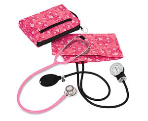 Aneroid Sphygmomanometer / Clinical Lite Stethoscope Kit, Adult, Hot Pink Hearts < Prestige Medical #A121-HPH