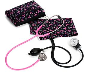 Aneroid Sphygmomanometer / Clinical I Stethoscope Kit, Adult, Pink Ribbons Black, Print < Prestige Medical #A126-PRB