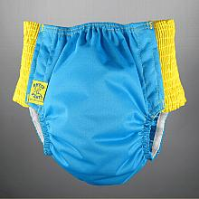 *Last One* Antsy Pants™ size S in Aqua Blue with Yellow easy-stretch sides (littles apx. 15-30lbs)
