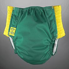 *8 Left* Antsy Pants™ size S in Fall Green with Yellow easy-stretch sides (littles apx. 15-30lbs)