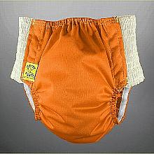 Antsy Pants™ size S in Orange with White easy-stretch sides (littles apx. 15-30lbs)