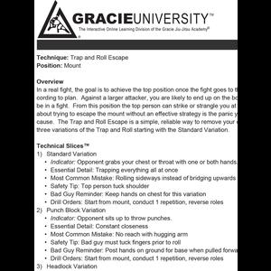 Gracie Combatives Detailed Lesson Printouts